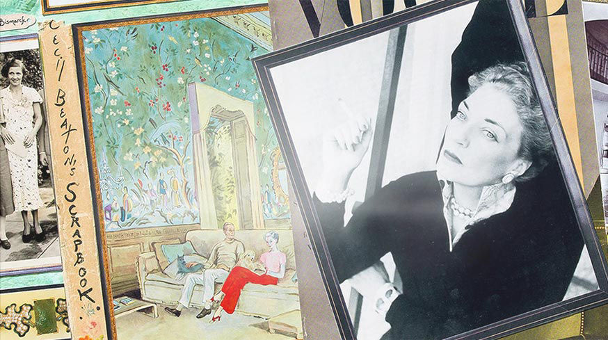 Detail of collage with painting of couple sitting in formal living room and photo of woman in black top and pearl jewelry