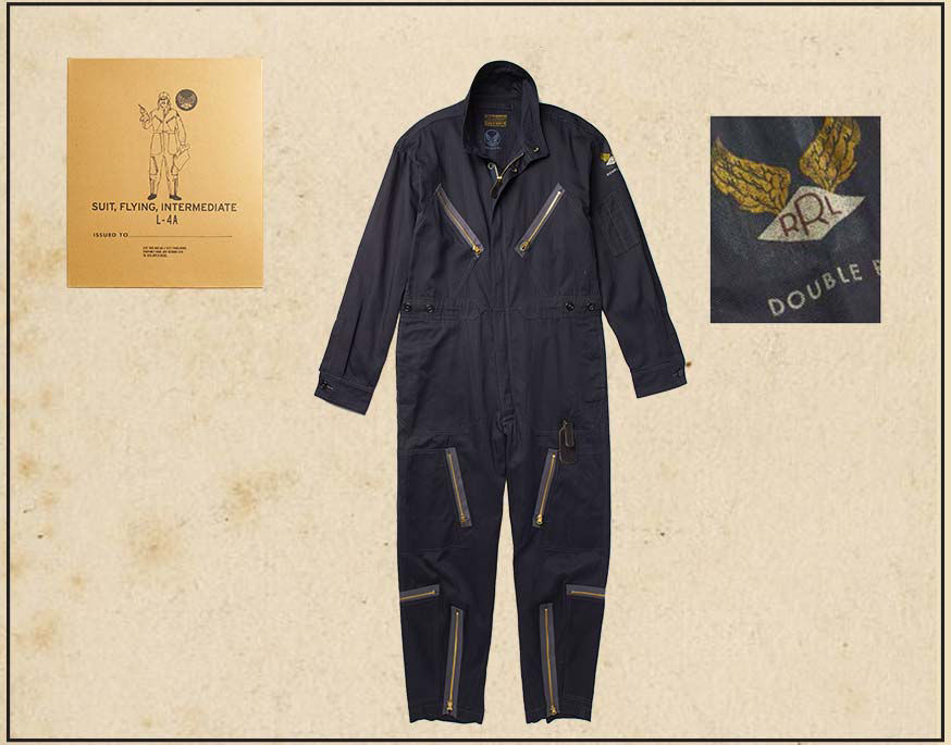 Navy flight suit with zip pockets & detail of winged RRL logo