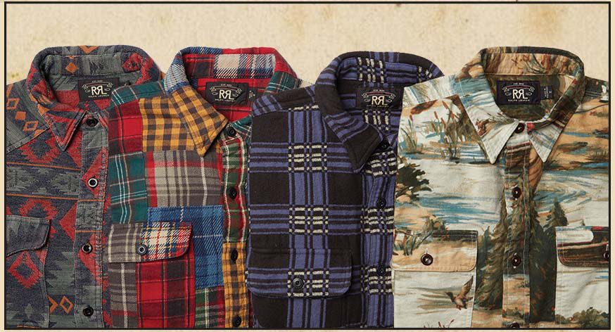Four workshirts in geometric, plaid & duck-hunting inspired patterns