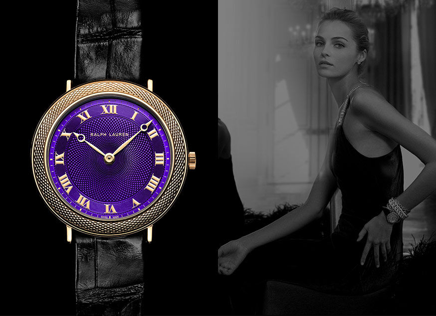 Slim Classique with vibrant purple dial and gold Roman numerals
